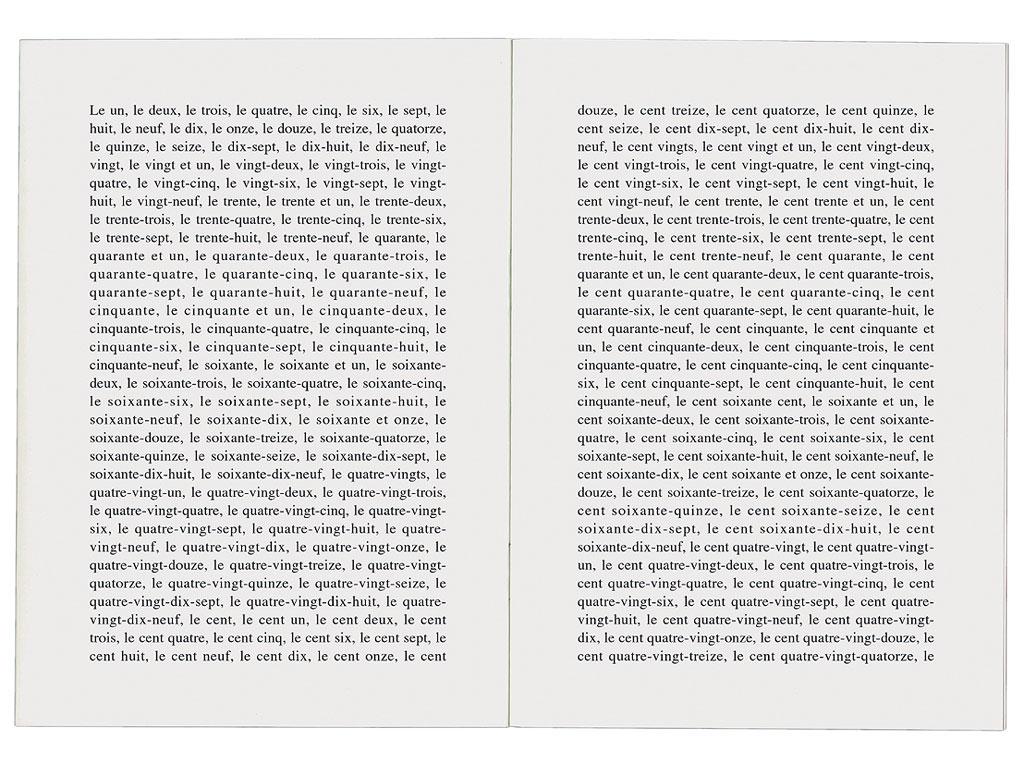 Claude Closky, '1000 raisons de compter jusqu'à mille [A thousand reasons to count to one thousand]', 1997, artist's publication, b&w photocopy, 16 pages, 21 x 15 cm.
