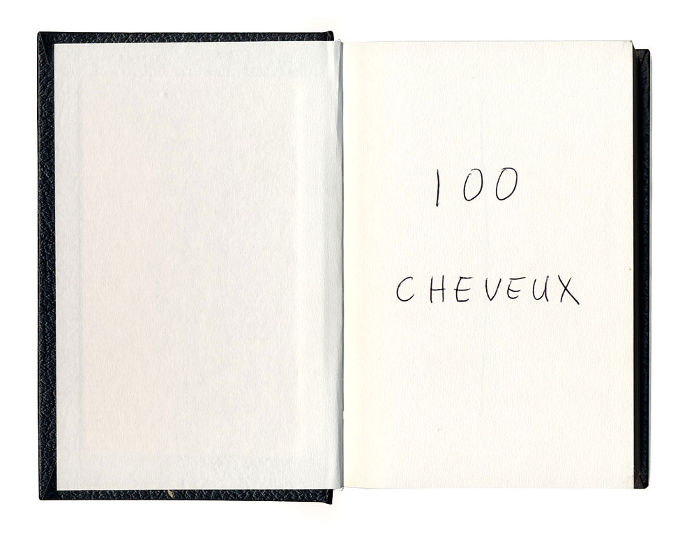 Claude Closky, '100 cheveux [100 Hairs]', 1992, ballpoint pen, sketch book, 200 pages, 14 x 9 cm.