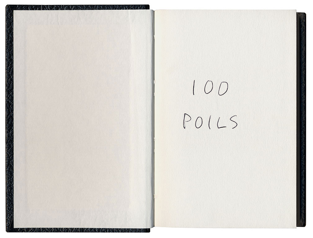 Claude Closky, '100 poils [100 Body Hairs]', 1992, black ballpoint pen on sketch pad, 200 pages, 200 pages, 14 x 9 cm.