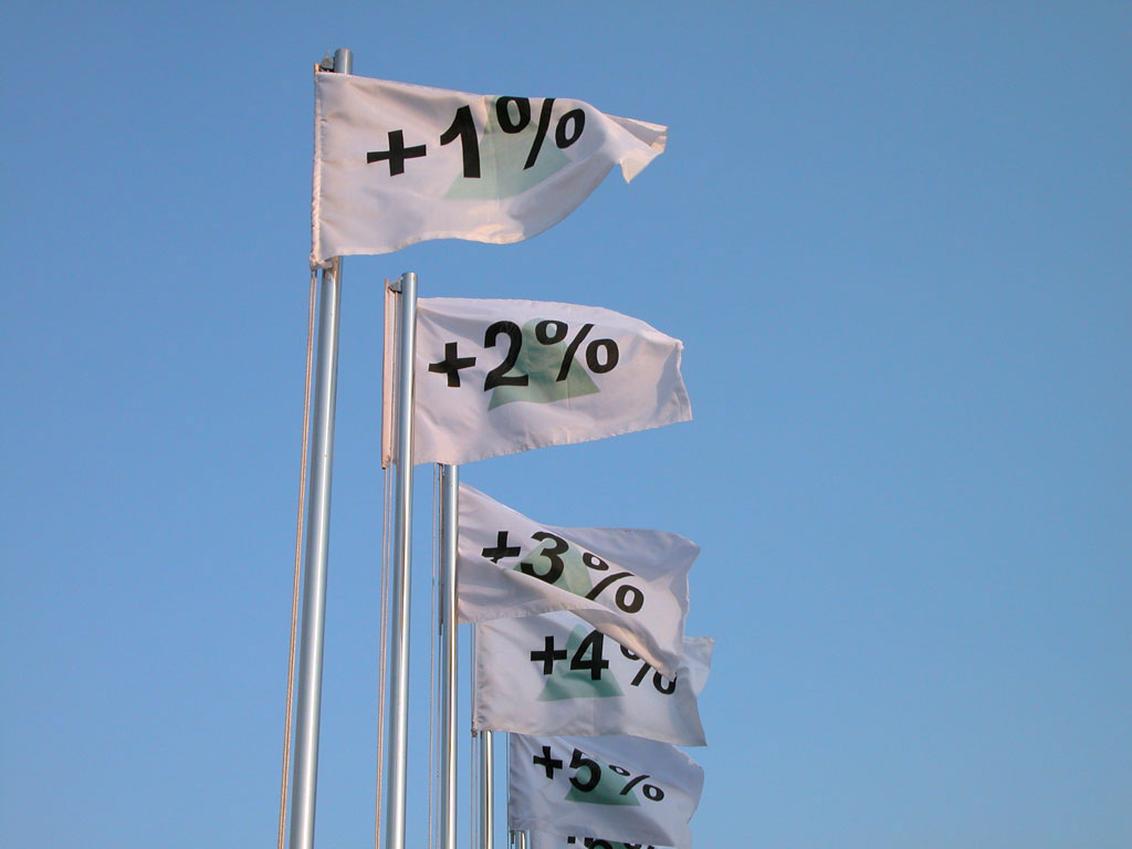 Claude Closky, '100%,' 2004, stainless steel poles, silkscreen print flags, Quancheng Guangchang (Spring Place), dimensions variable.