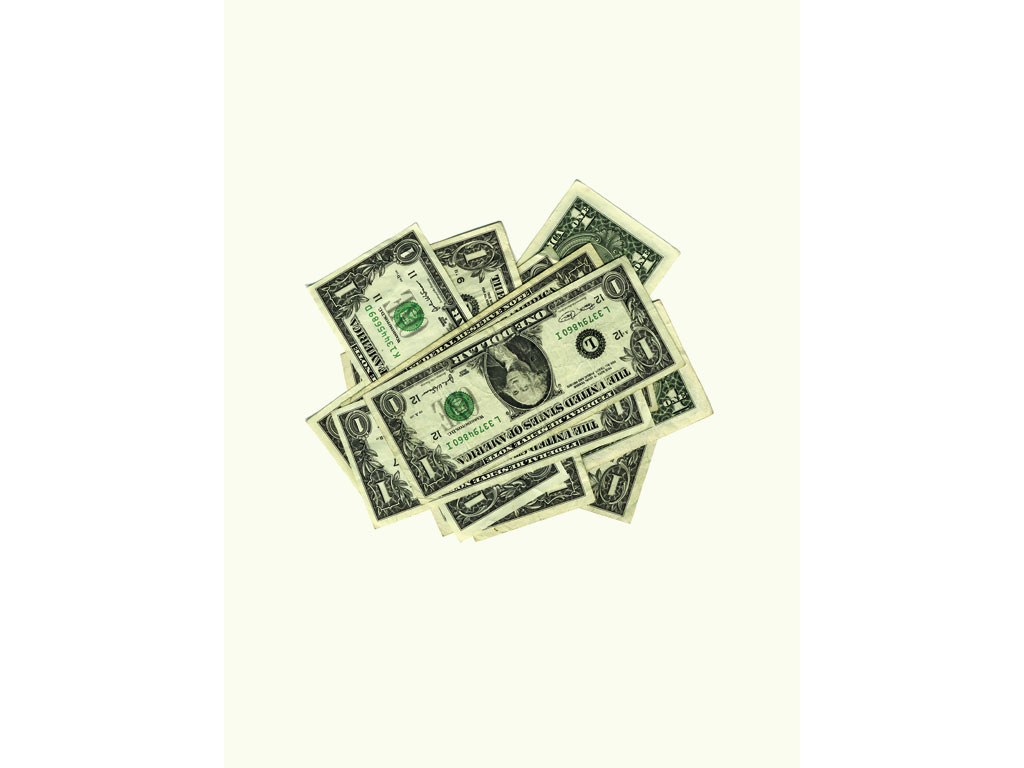 Claude Closky, '10 ($10)', 2005, collage (banknotes), diptyque 2 fois 40 X 30 cm.