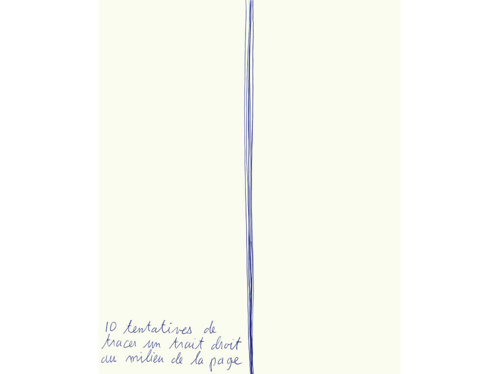 Claude Closky, '10 tentatives de tracer un trait droit au milieu de la page [10 attempts to draw a straigth line in the middle of the page] ', 1993, ballpoint pen on paper, 30 x 24 cm.
