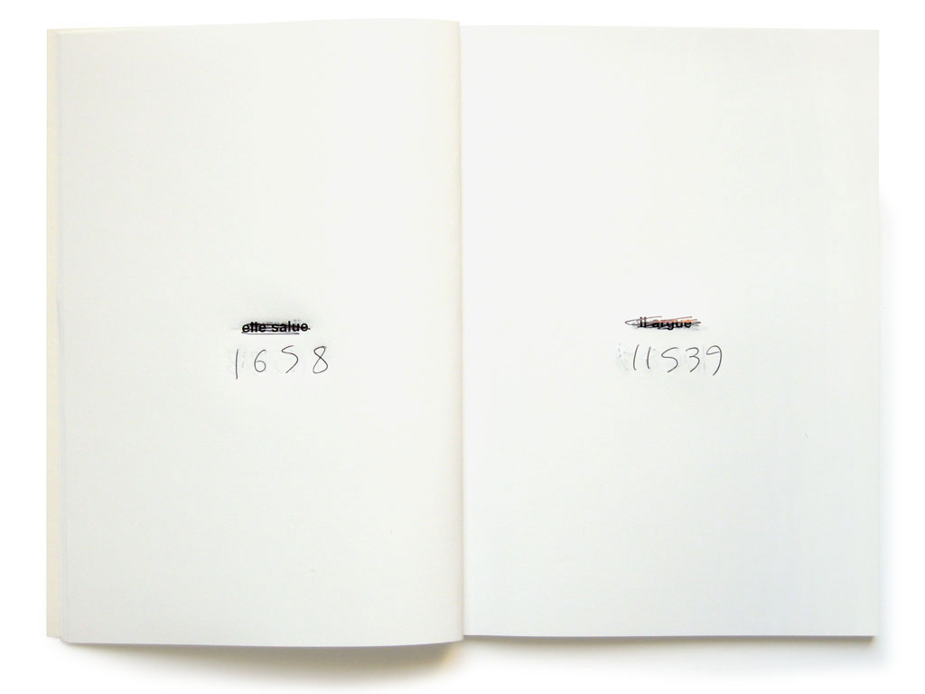 Claude Closky, '119/10,000 (corrected counterfeits),' 1998, Paris: Entrée de secours. Black offset, 120 pages , 21 x 15 cm, corrected by hand with a black ball point pen.