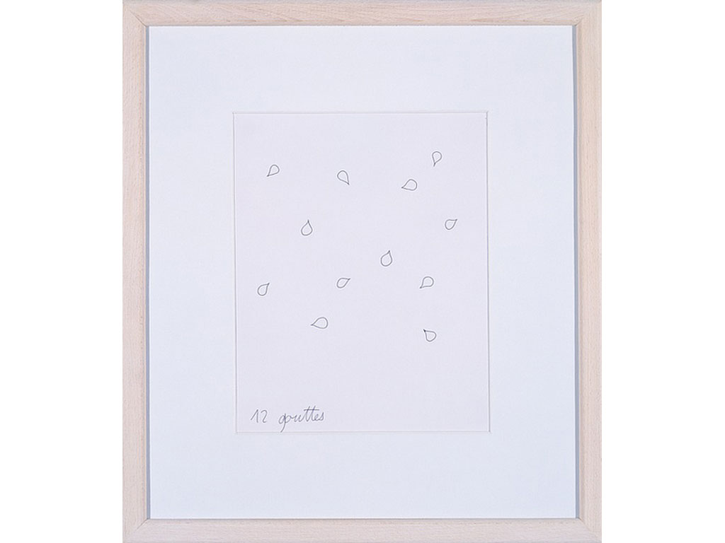 Claude Closky, '12 gouttes [12 drops]', 1994, ballpoint pen on paper, 30 x 24 cm.