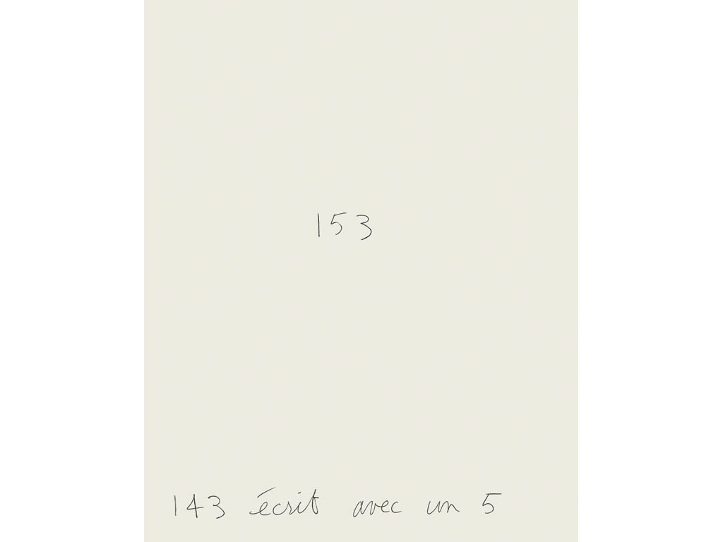 Claude Closky, '143 écrit avec un 5 [143 written with a 5]', 1994, ballpoint pen on paper, 30 x 24 cm.