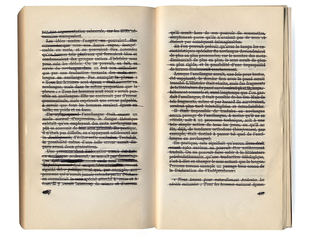 "Claude Closky, '1634', 1994, black ballpoint, book ""1984"" by George Orwell, 438 pages, 18 x 11 cm."