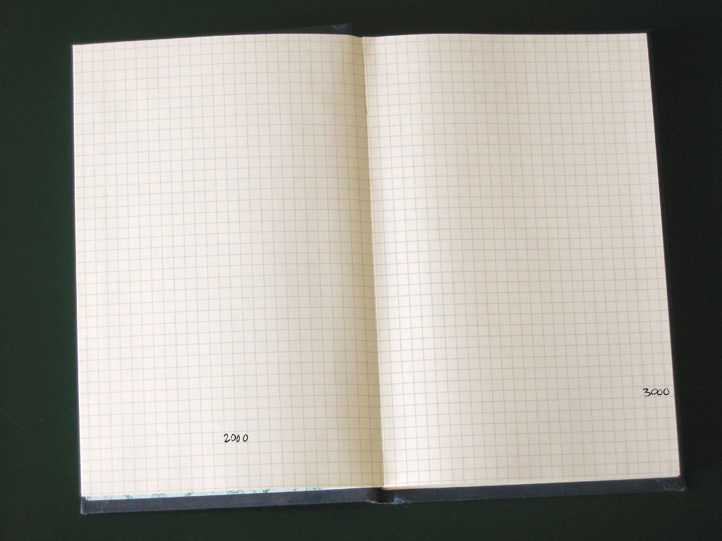 Claude Closky, '195167 Squares', 1991, ballpoint pen on notebook, 200 pages, 21 x 15 cm.