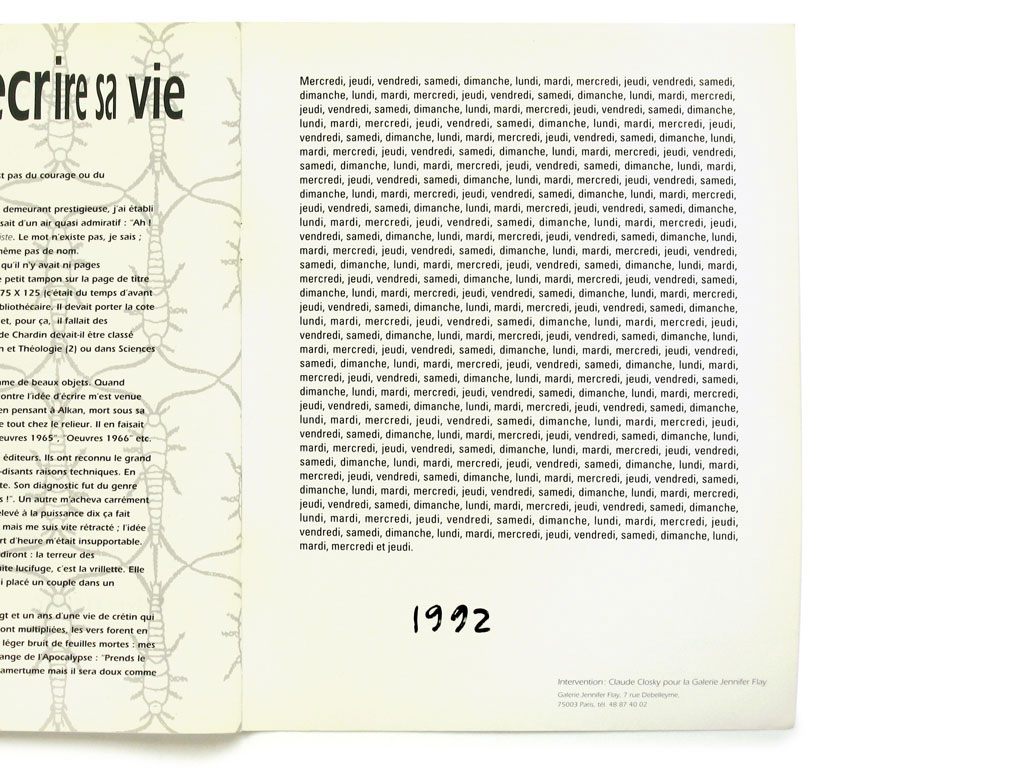 Claude Closky, '1992', 1992, Paris: Purple prose #2, third cover page.