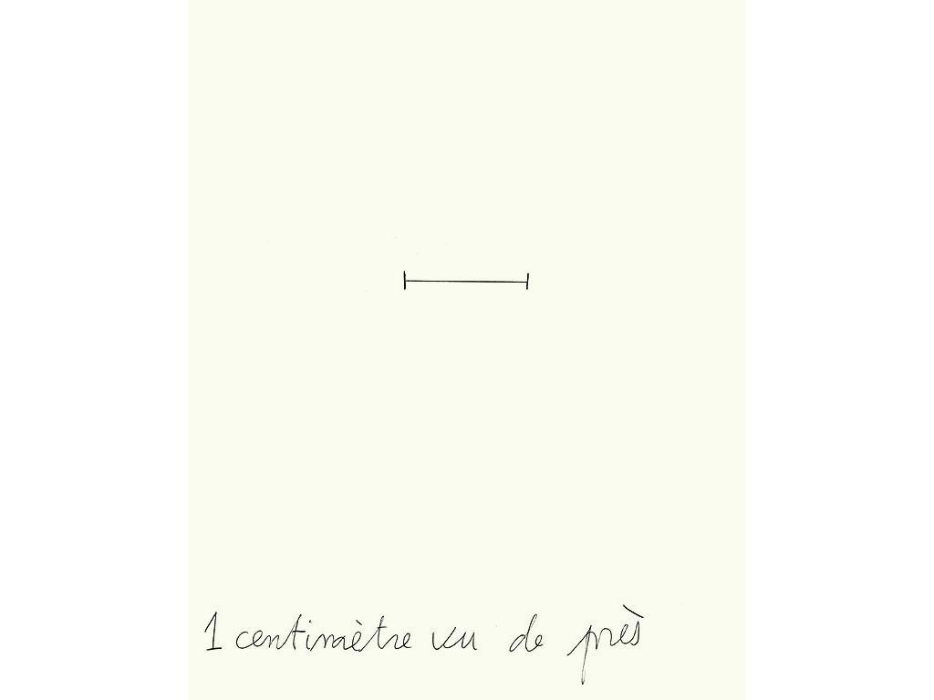 Claude Closky, '1 centimètre vu de près [1 centimeter seen close-up]', 1996, black ballpoint pen on paper, 30 x 24 cm.