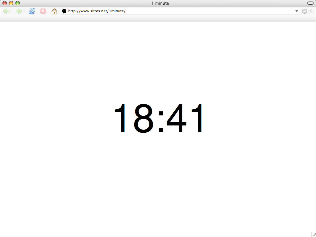Claude Closky, '1 minute', 2006, web site, Javascript (http://www.sittes.net/1minute).
