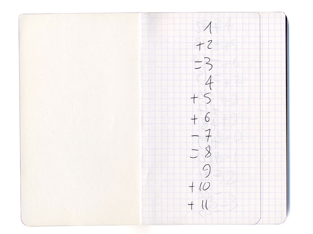 Claude Closky, '1 + 2 = 3', 1995, ballpoint pen on notebook, 200 pages, 17 x 11 cm.