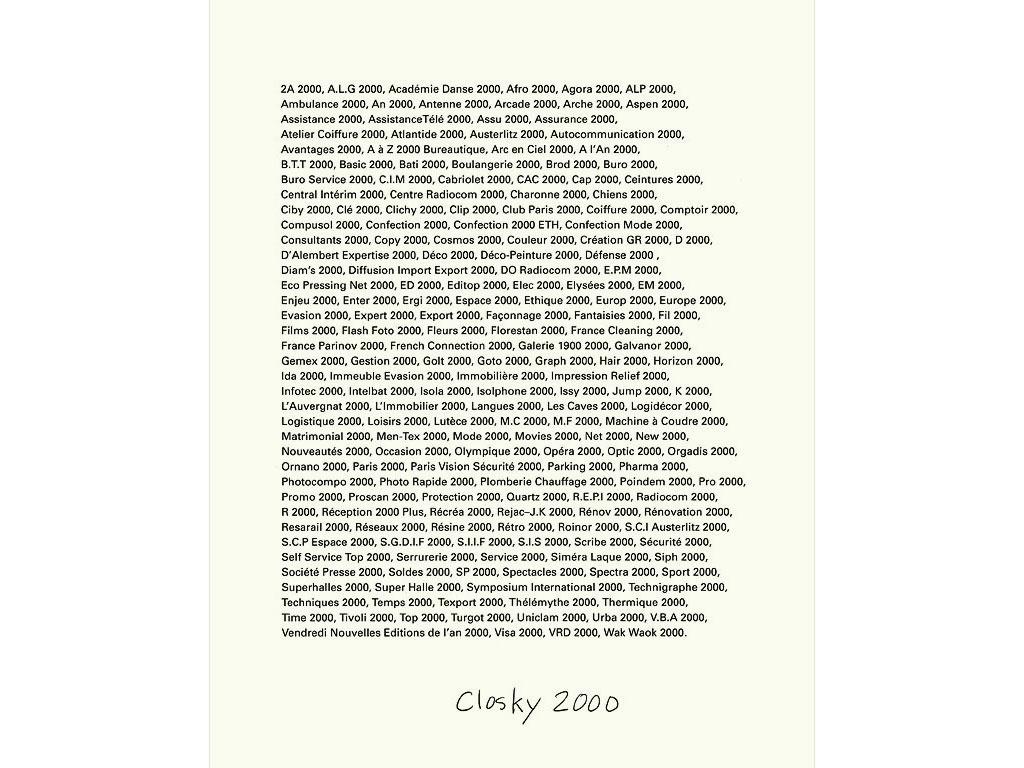 Claude Closky, 'Closky 2000', 1992, ballpoint pen on bromide print, 30 x 24 cm.