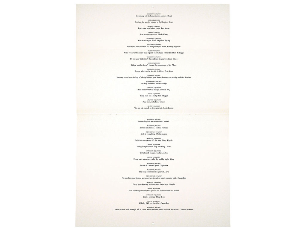 Claude Closky, '2000 Calendar', 1999, Paris: Musée du Sourire Editions, 24 pages, 24 x 30 cm.