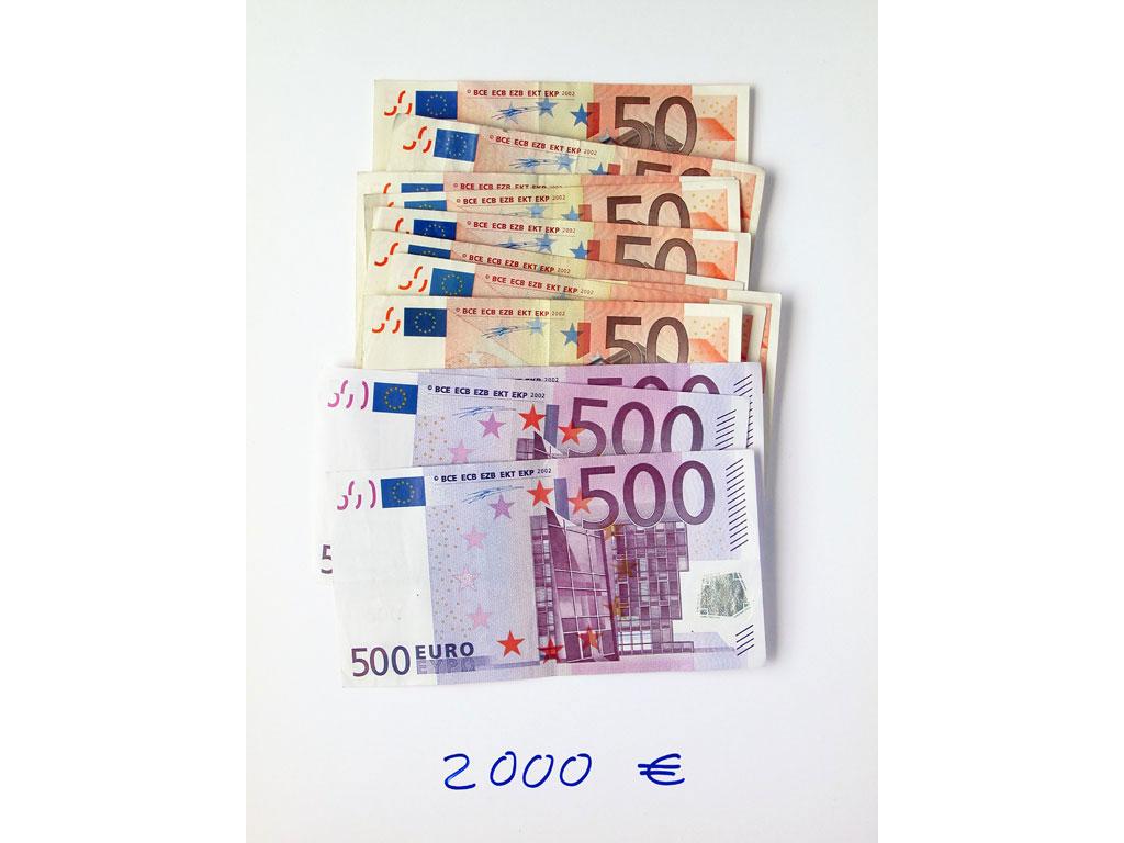 Claude Closky, '2,000 euros (10x50+3x500)', 2002, c-print, permanent felt-tip pen, 32 x 24 cm.
