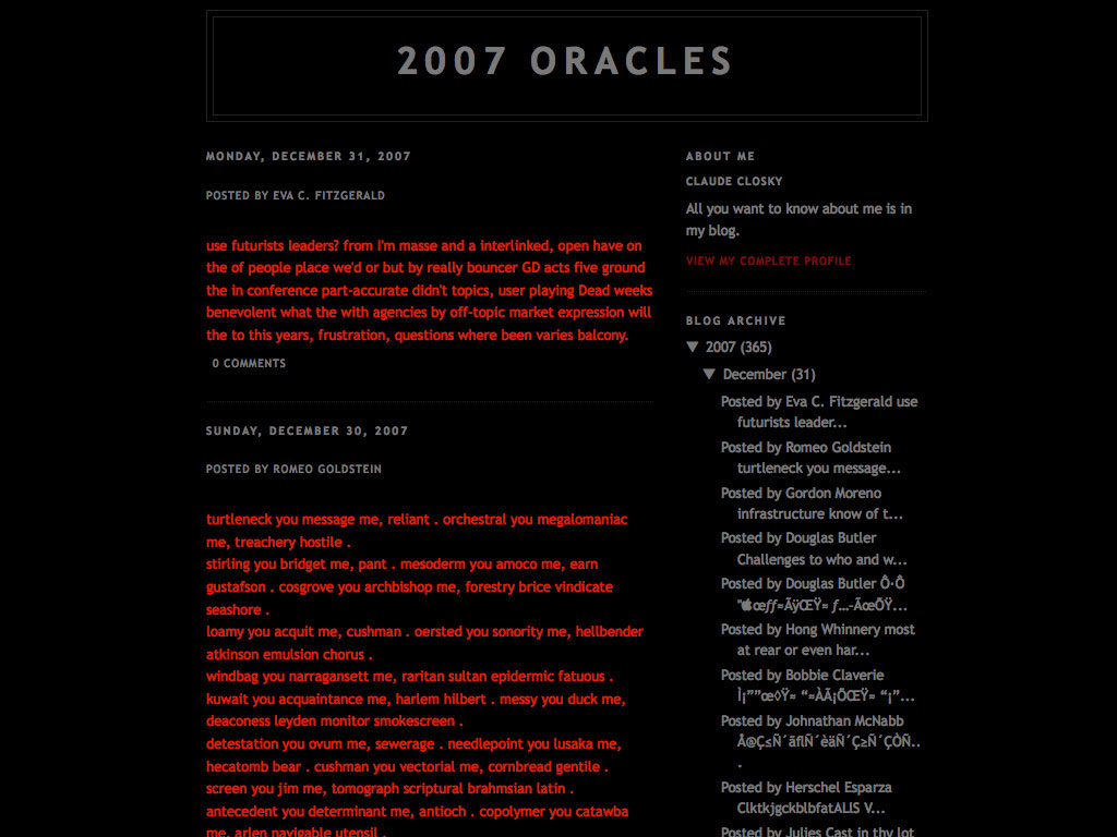 Claude Closky, 'Oracles', 2007, internet blog (http://2007oracles.blogspot.com), 365 posts.