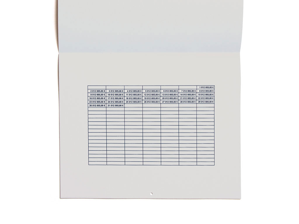 Claude Closky, '2,005.00 euros', 2004, Paris: Editions 2-909043. Black offset, 24 pages, 24 x 30 cm.