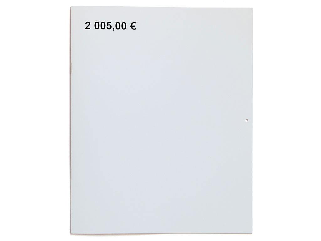 Claude Closky, '2,005.00 euros', 2004, Paris: Editions 2-909043, 24 pages, 24 x 30 cm.
