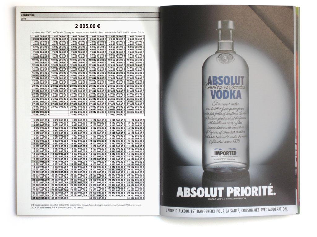 Claude Closky, '2 005,00  eur', 2004, in Le Colette #6, October, p. 78, 21 x 15 cm.