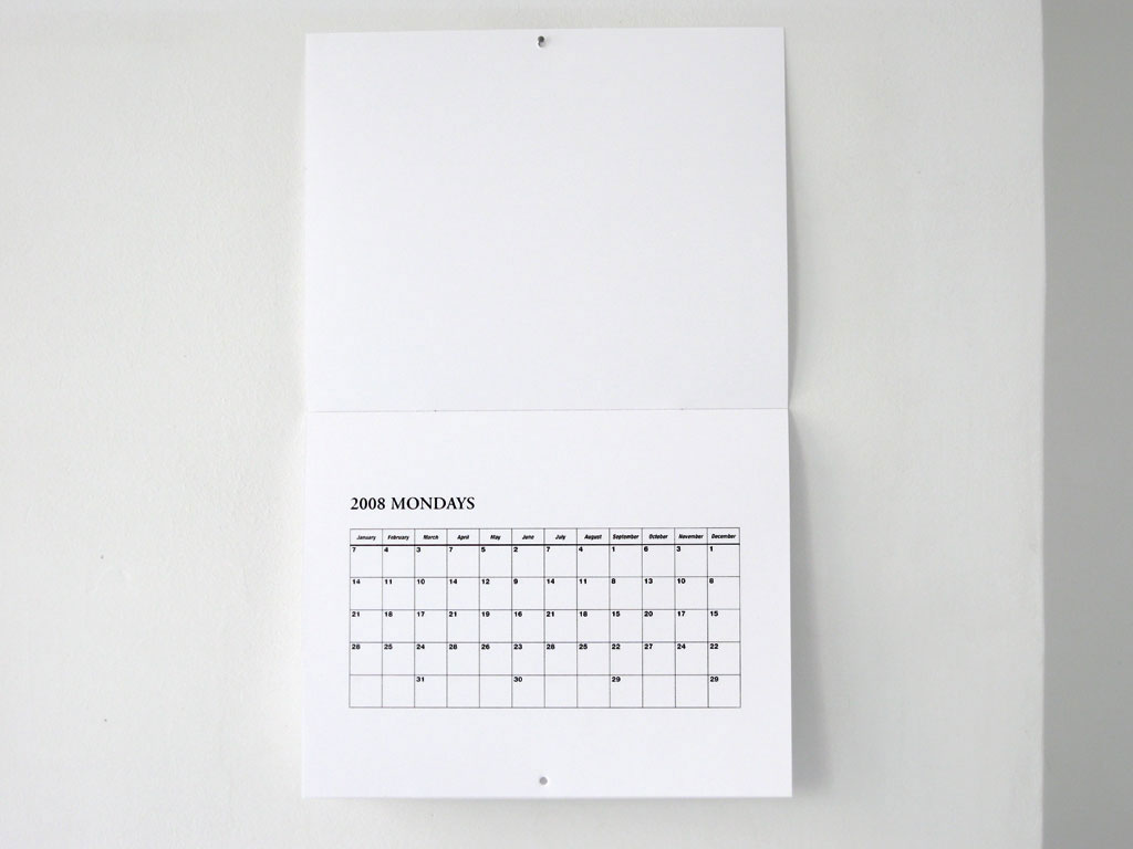 Claude Closky, '2008 Calendar,' 2007, Paris: One star press \ Galerie Laurent Godin. Black offset, 12 pages, 30 x 24 cm.
