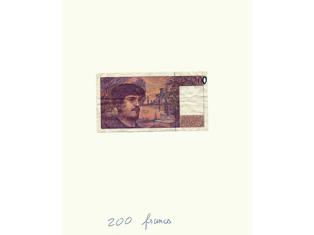 Claude Closky, '200 Francs,' 1992, banknote, ballpoint on paper, 30 x 24 cm.