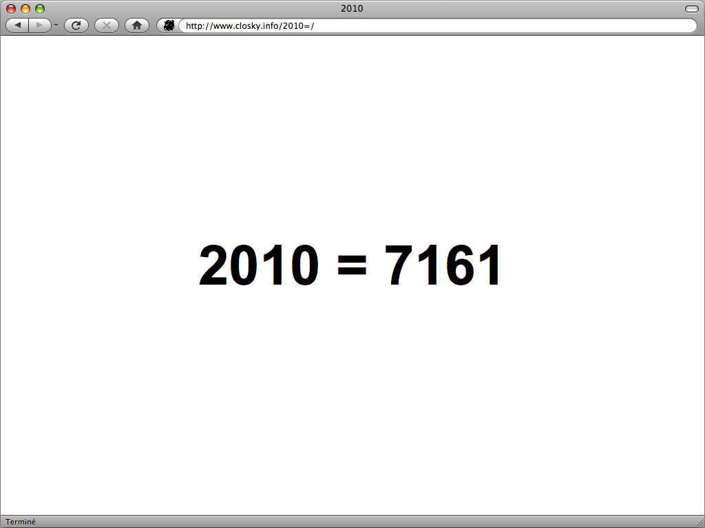 Claude Closky, '2010', 2009, interactive web site, Php (http://www.closky.info/2010).