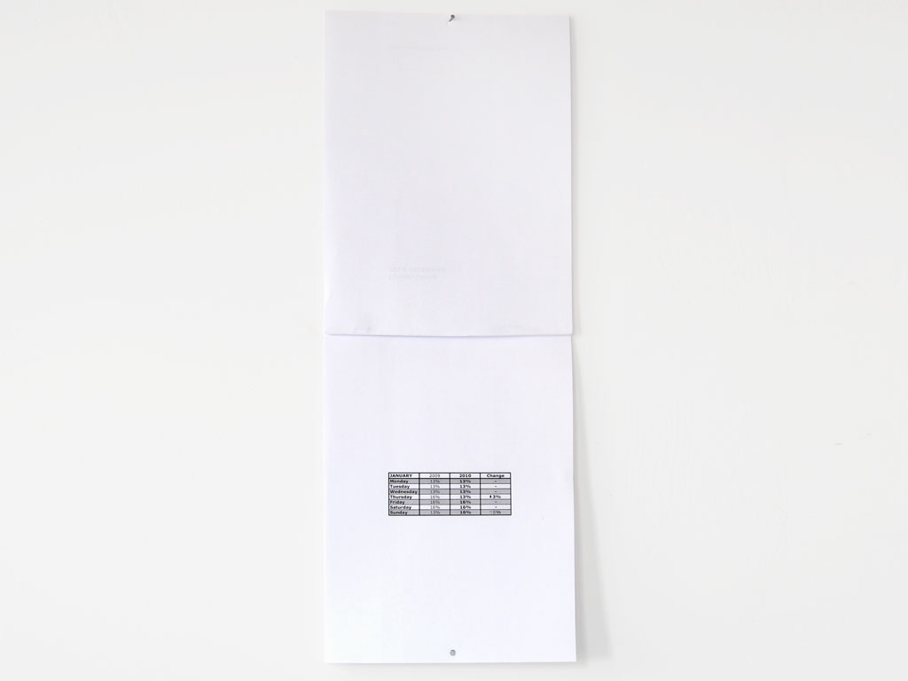 Claude Closky, '2010 Calendar,' 2009, Paris: Galerie Laurent Godin. Black laser print, 12 pages, 29,7 x 21 cm.