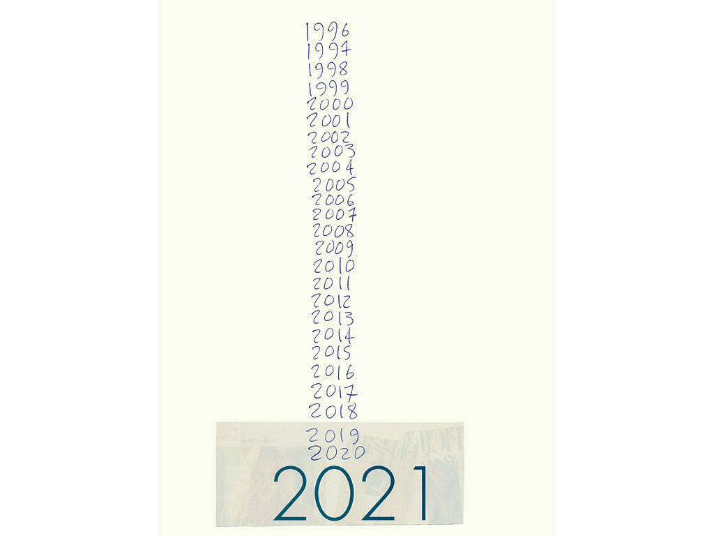 Claude Closky, '2021', 1996, ballpoint pen and collage on paper, 32 x 24 cm.