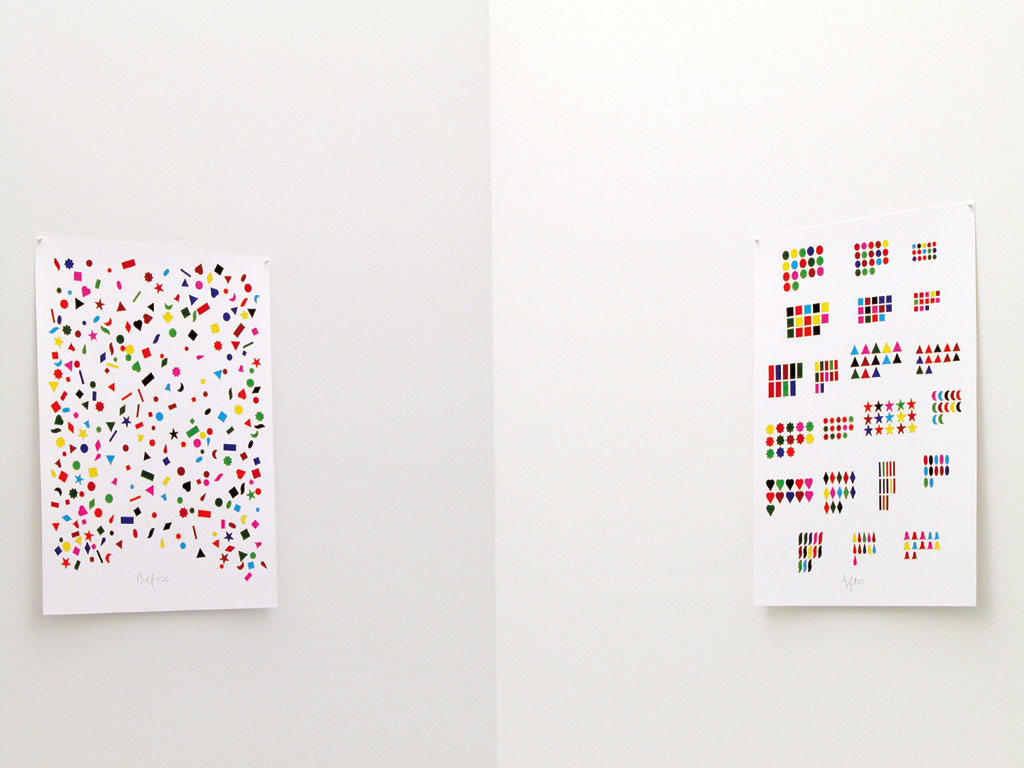 Claude Closky, 'Before and After (21 shapes)', 2004, collage, stickers, ballpoint pen, dyptique, twice 80 x 60 cm. Exhibition view 'You Want You Have', Galerie Mehdi Chouakri, Berlin. 15 January - 26 February 2005