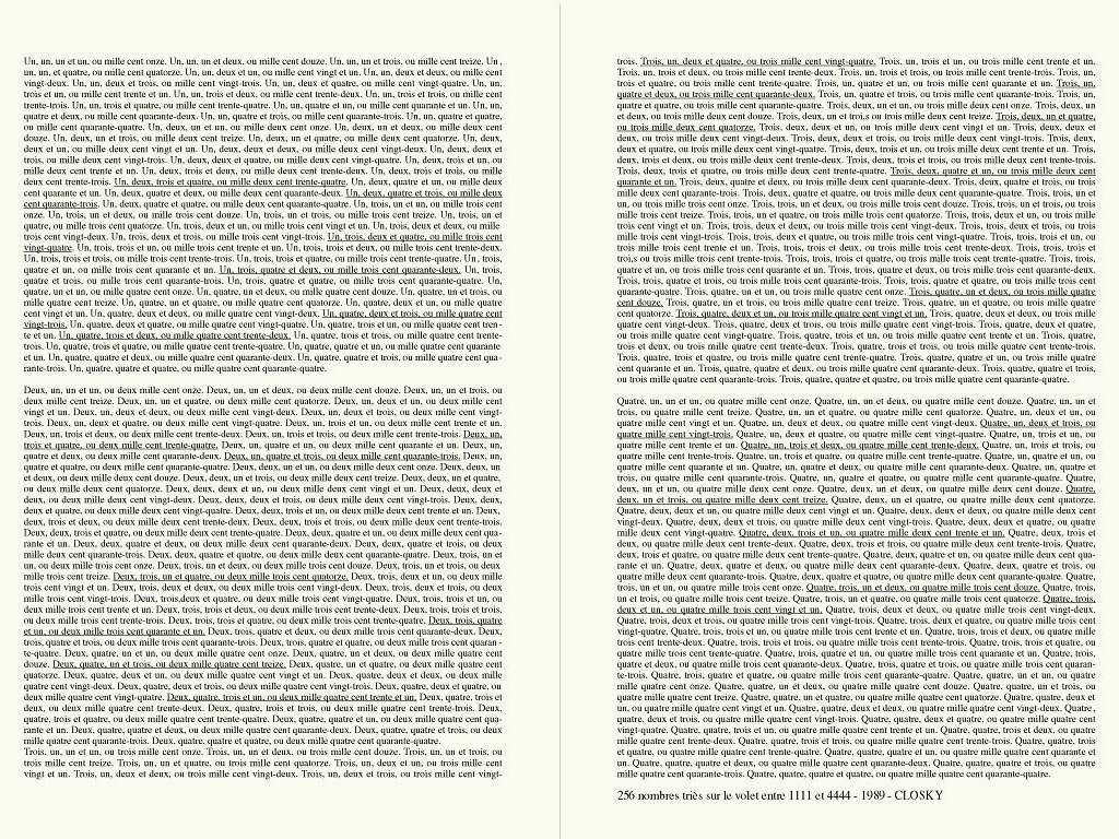 Claude Closky, '256 nombres triès sur le volet entre 1111 et 4444 [256 numbers handpicked between 1111 and 4444]', 1989, laser print on paper, 2 pages 29,7 x 21 cm.