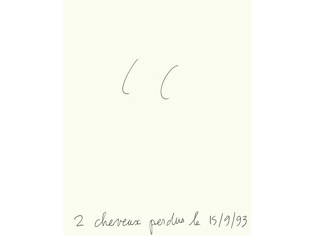 Claude Closky, '2 cheveux perdu le 15 / 9 / 93 [2 hair lost the 9 / 15 / 93]', 1993, black ballpoint pen on paper, 30 x 24 cm.