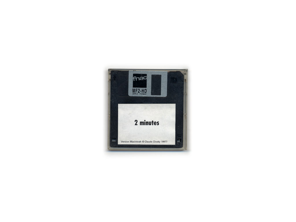 "Claude Closky, '2 minutes,' 1997, 3.5"" floppy disk for Macintosh, 640 x 480 px, 2 minutes."