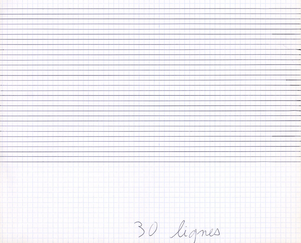 Claude Closky, '30 lignes [30 lines]', 1992, ballpoint pen on grid paper, 24 x 30 cm.