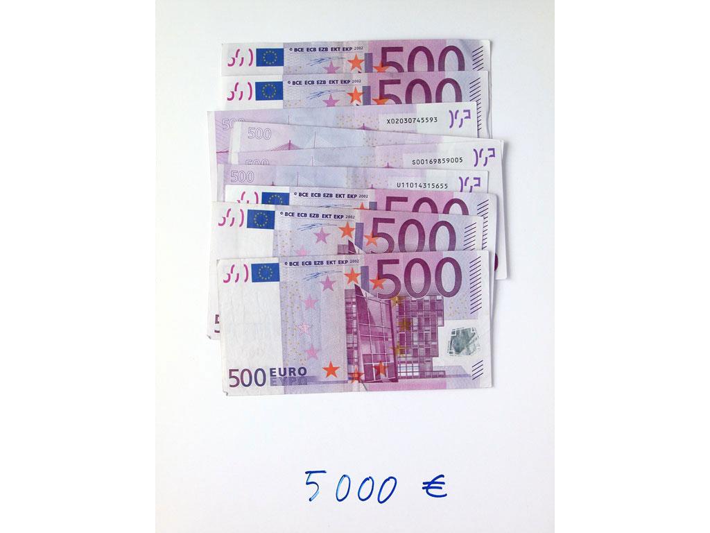 Claude Closky, '5,000 euros (10x500), 2', 2002, c-print, permanent felt-tip pen, 32 x 24 cm.