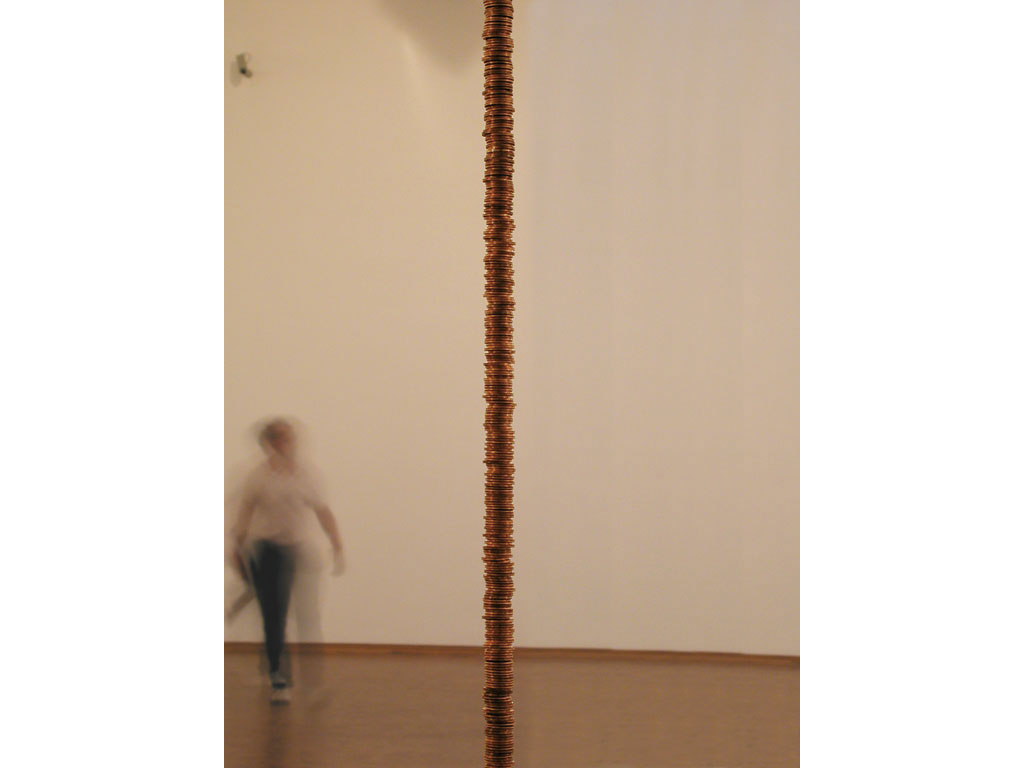 Claude Closky, '55 euros and 42 cents', 1994-2002, 10 centimes coins. Museum Ludwig, Köln. 15 February - 2 June 2002. Curated by Hans-Christian Dany, Marjorie Jongbloed, Michael Krajewski, Astrid Wege