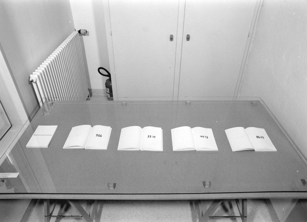 Claude Closky, '8560 nombres qui ne servent pas à donner l'heure [8560 numbers which aren't used to give time],' 1994, Genève: Centre d'édition contemporaine. Black laser print, 80 volumes, 21 x 15 cm, 214 pages each. Exhibition view Centre d'édition contemporaine, Genève. 19 May - 9 July 1994. Curated by Véronique Bacchetta