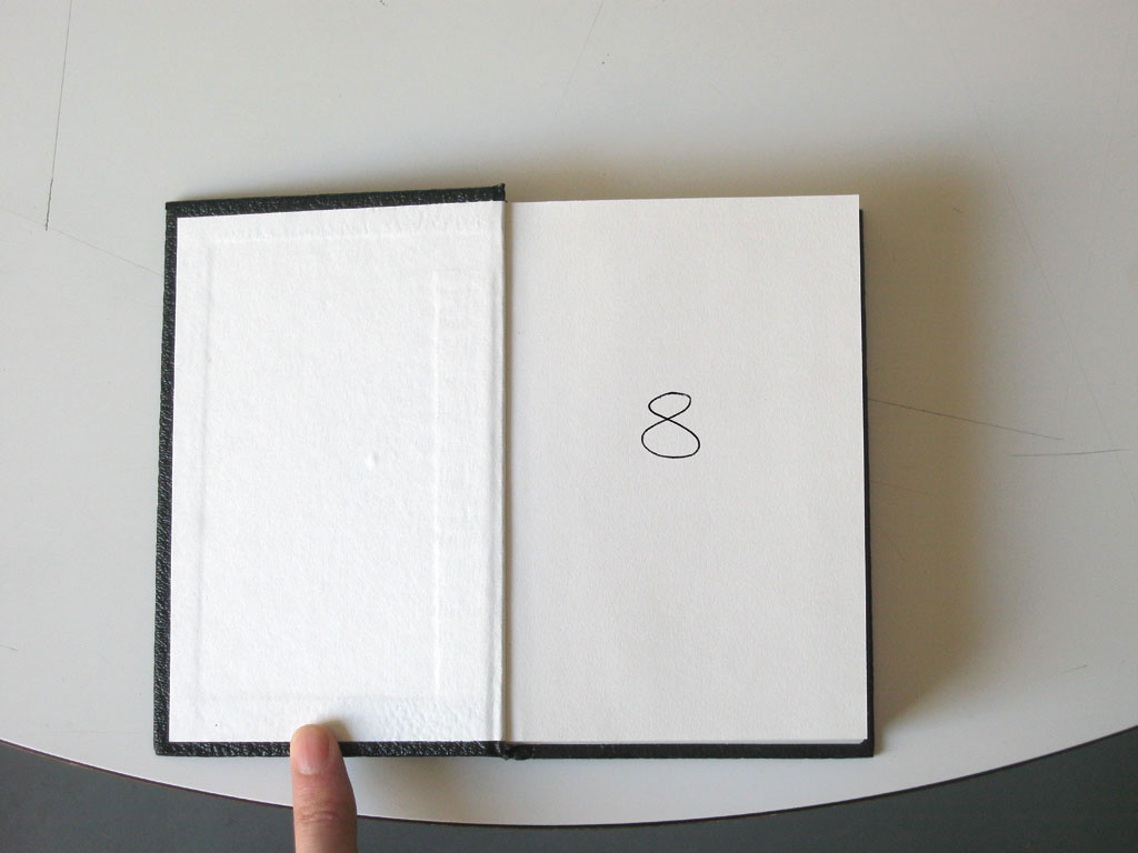 Claude Closky, '8', 1994, ballpoint pen on sketch pad, 200 pages, 14 x 9 cm.