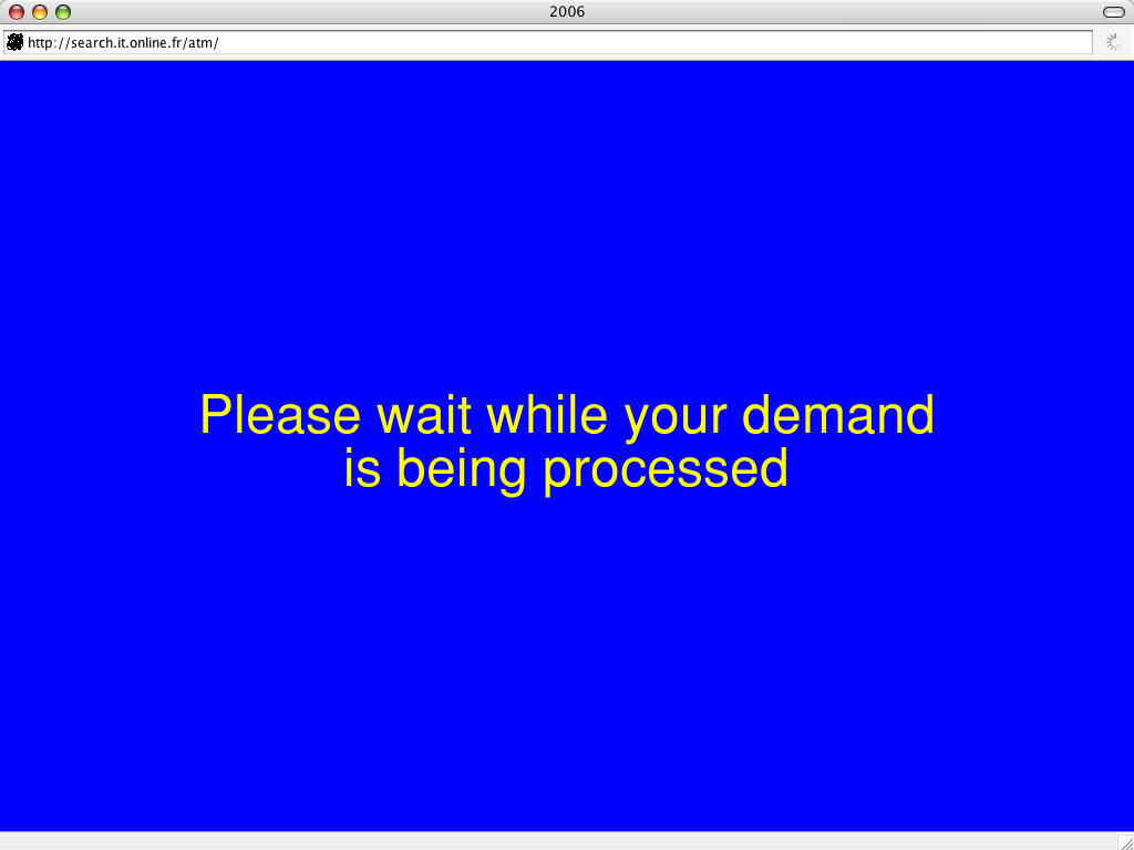 Claude Closky, '2006', 2005, interactive web site, Html (http://search.it.online.fr/atm).
