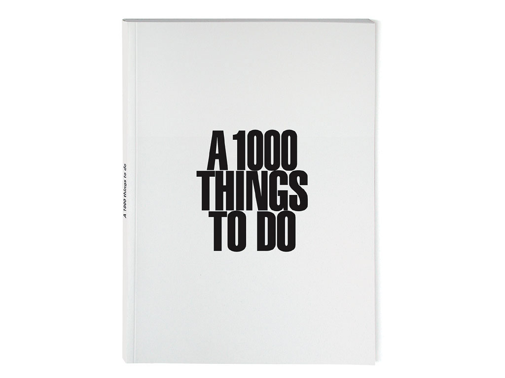 Claude Closky, 'A 1000 things to do,' 1994-1996, Paris: Galerie du Jour agnès b. Black offset, 64 pages, 21 x 15 cm.