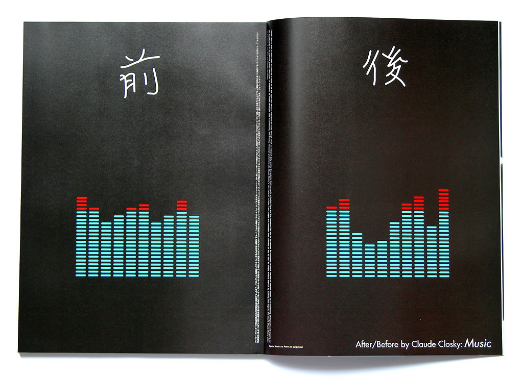 Claude Closky, '前 / 後 [After/Before]  Music', 2003, Tokyo: RyukoTsushin, n°476 (February), pp. 4-5.