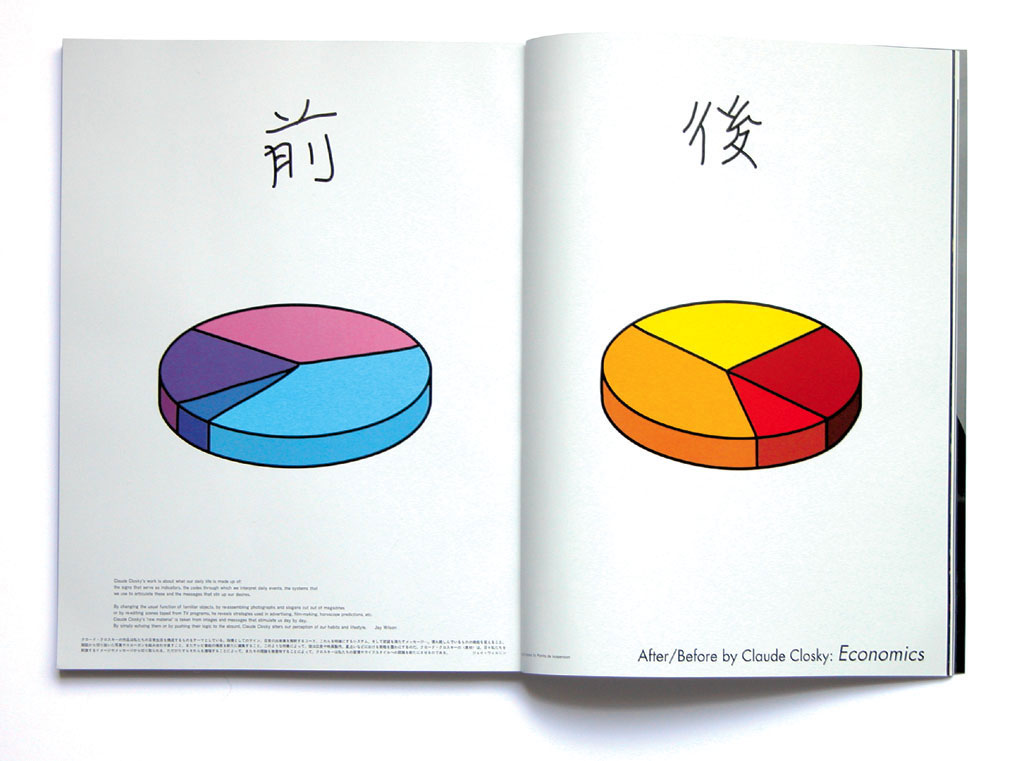 Claude Closky, '前 / 後 [After/Before]  Economics', 2002, Tokyo: RyukoTsushin, n°473 (November), pp. 14-15.