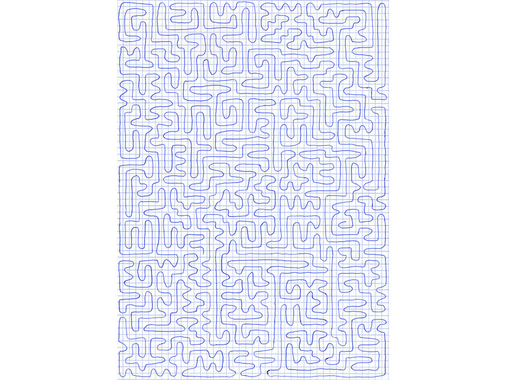 Claude Closky, 'Going everywhere (run 1)', 2009, blue ballpoint pen on grid paper, 30 x 21 cm.