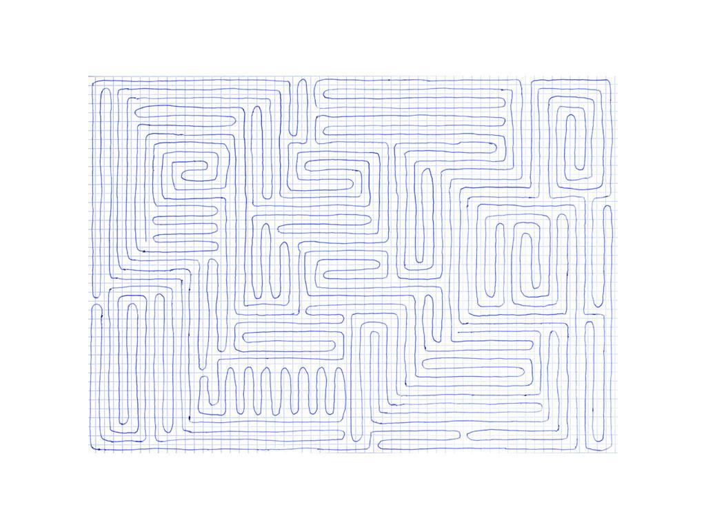 Claude Closky, 'Going everywhere (run 2)', 2009, blue ballpoint pen on grid paper, 21 x 30 cm.