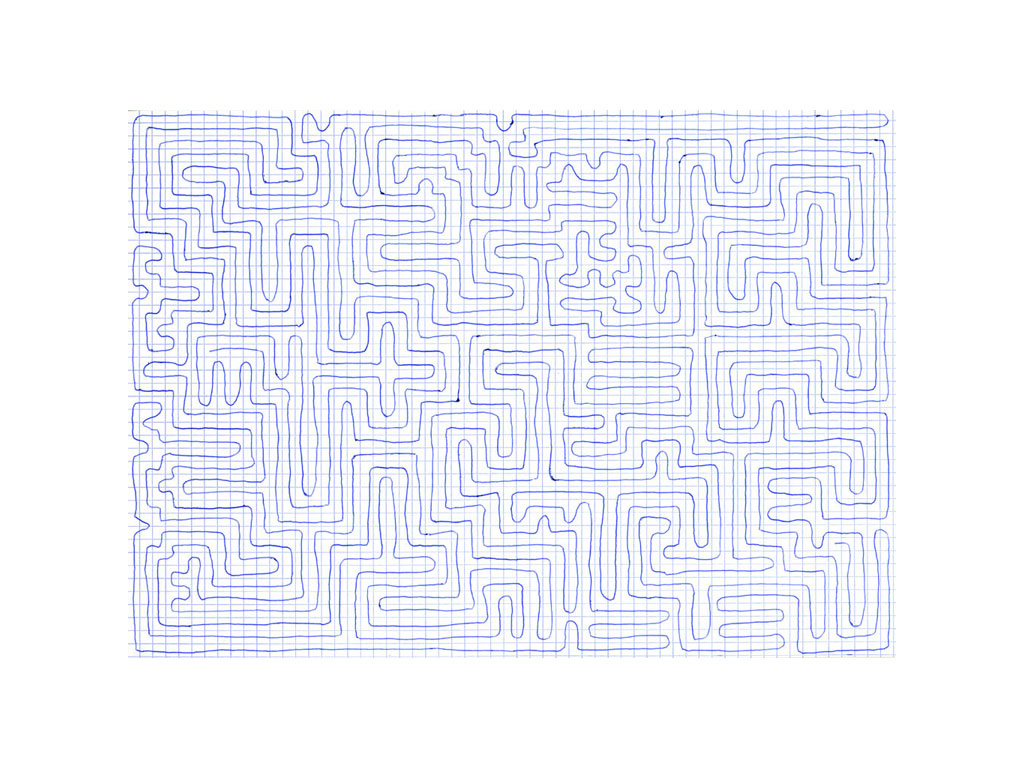 Claude Closky, 'Going everywhere (run 4)', 2009, blue ballpoint pen on grid paper, 21 x 30 or 30 x 21 cm.