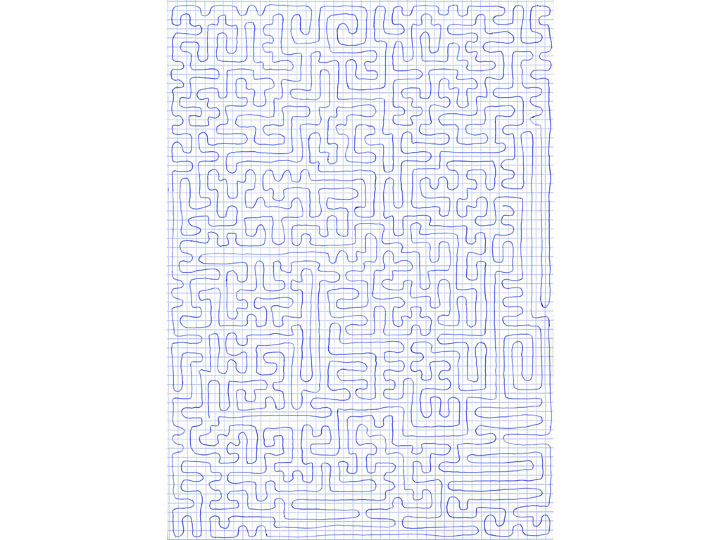 Claude Closky, 'Going Everywhere (Run 7)', 2009, blue ballpoint pen on grid paper, 21 x 30 or 30 x 21 cm.