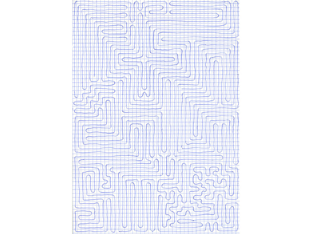 Claude Closky, 'Going Everywhere (Run 9)', 2009, blue ballpoint pen on grid paper, 21 x 30 or 30 x 21 cm.