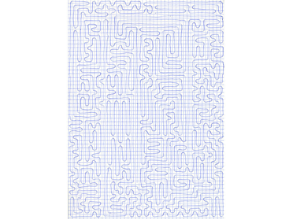 Claude Closky, 'Going Everywhere (Run 10)', 2009, blue ballpoint pen on grid paper, 21 x 30 or 30 x 21 cm.