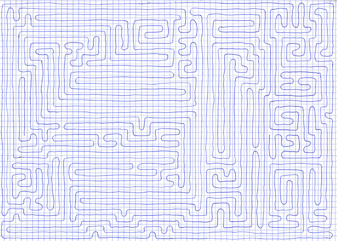 Claude Closky, 'Going Everywhere (Run 11)', 2009, blue ballpoint pen on grid paper, 21 x 30 or 30 x 21 cm.
