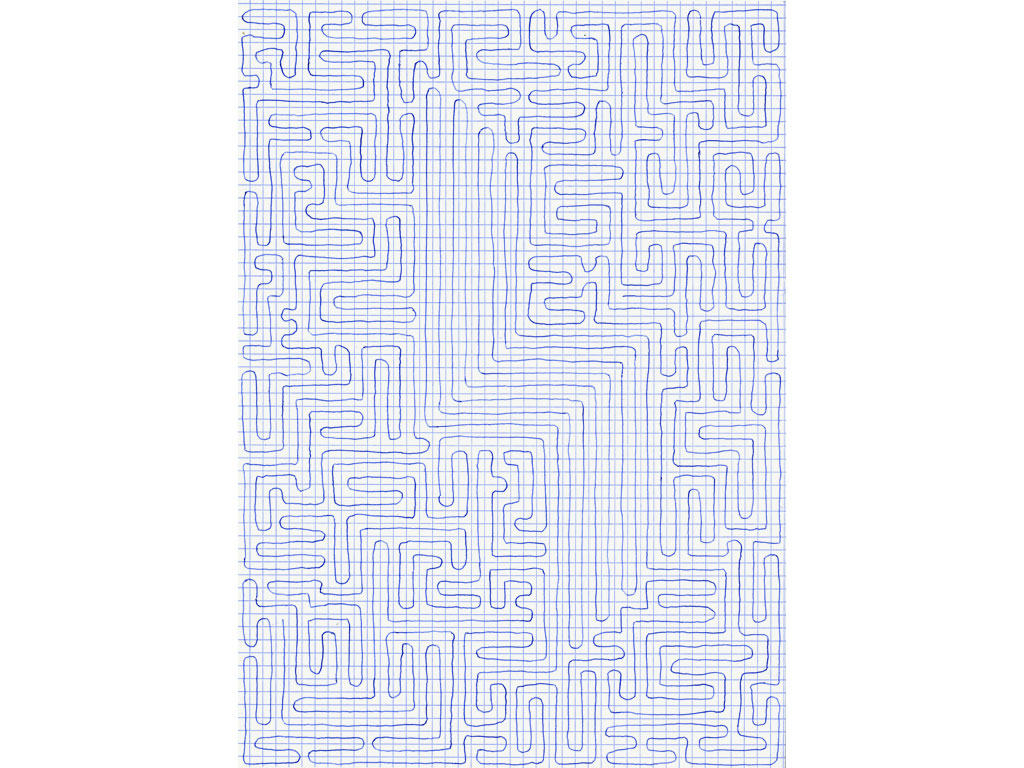 Claude Closky, 'Going Everywhere (Run 12)', 2009, blue ballpoint pen on grid paper, 21 x 30 or 30 x 21 cm.