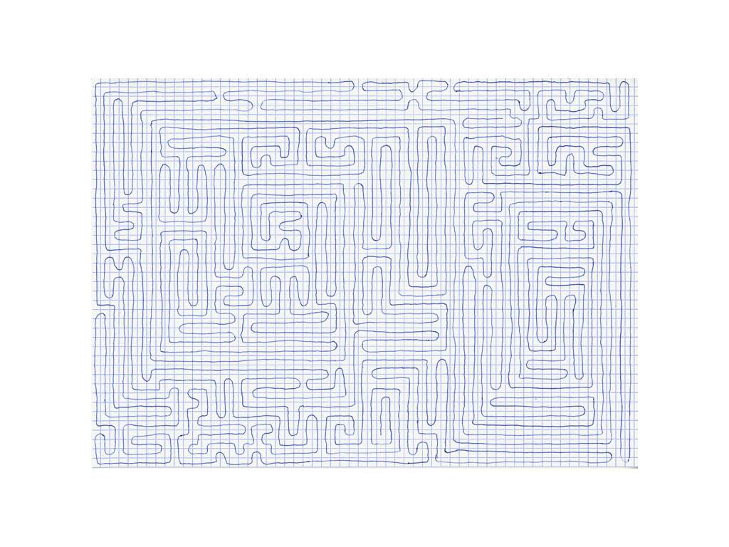 Claude Closky, 'Going Everywhere (Run 13)', 2009, blue ballpoint pen on grid paper, 21 x 30 or 30 x 21 cm.