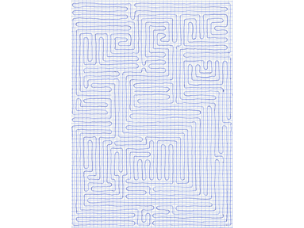 Claude Closky, 'Going Everywhere (Run 14)', 2009, blue ballpoint pen on grid paper, 21 x 30 or 30 x 21 cm.